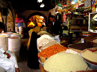 Traditional suq in Bab al Yemen, Sana'a, Yemen